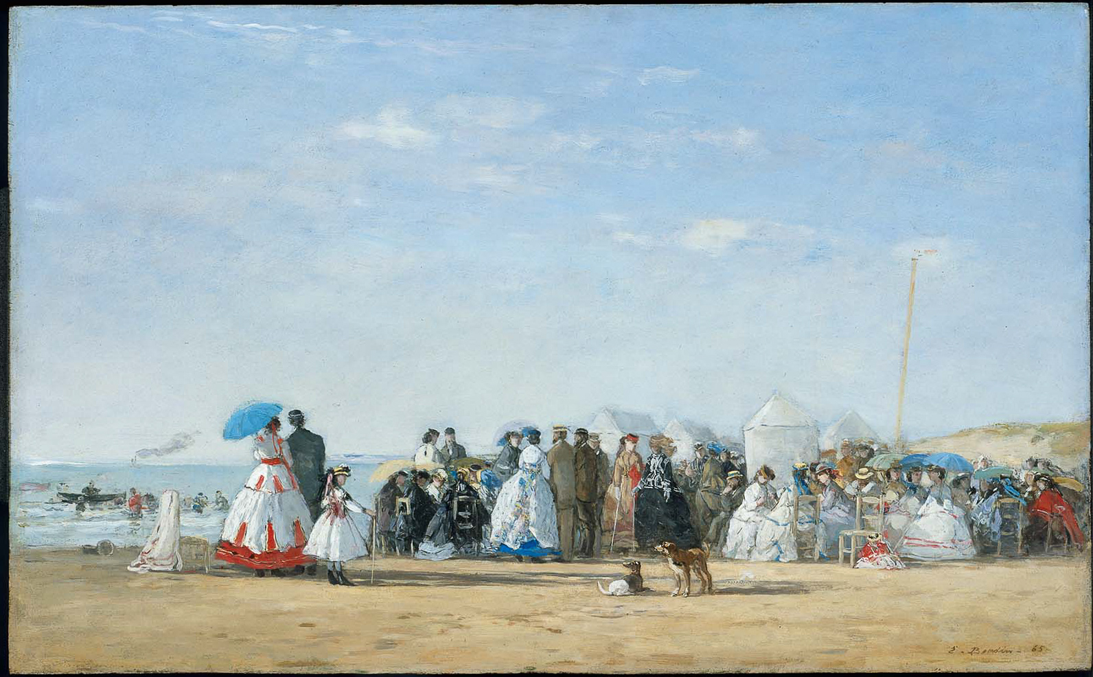 Fashionable Figures on the Beach. Eugene Boudin.